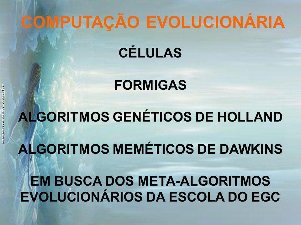 CÉLULAS FORMIGAS ALGORITMOS GENÉTICOS DE HOLLAND ALGORITMOS MEMÉTICOS DE DAWKINS EM BUSCA DOS META-ALGORITMOS EVOLUCIONÁRIOS DA ESCOLA DO EGC COMPUTAÇ