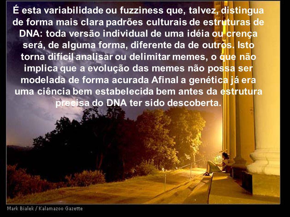 É esta variabilidade ou fuzziness que, talvez, distingua de forma mais clara padrões culturais de estruturas de DNA: toda versão individual de uma idé