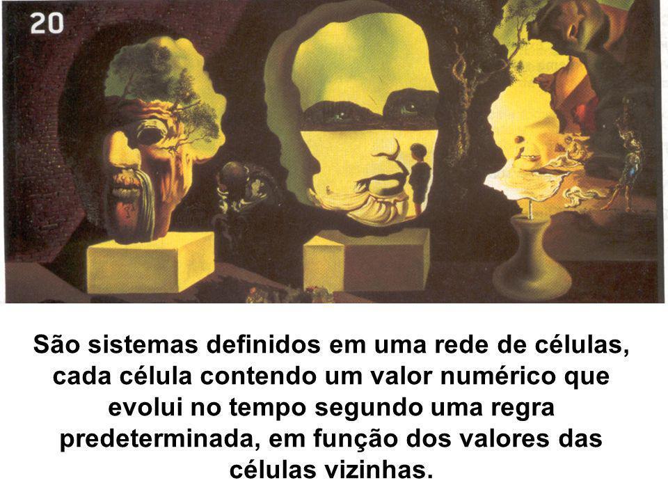 São sistemas definidos em uma rede de células, cada célula contendo um valor numérico que evolui no tempo segundo uma regra predeterminada, em função