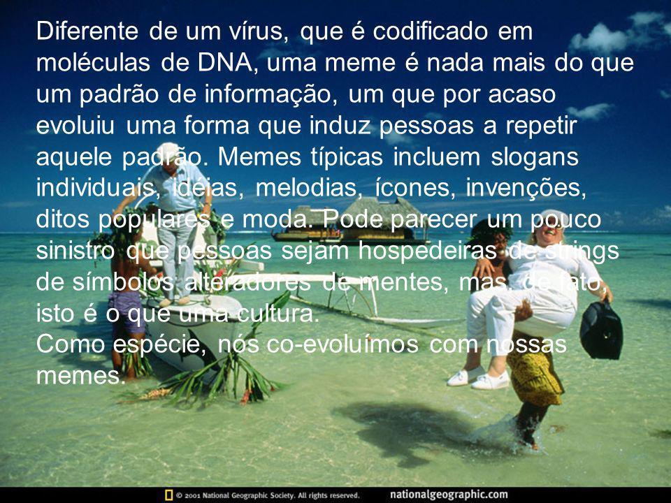 Diferente de um vírus, que é codificado em moléculas de DNA, uma meme é nada mais do que um padrão de informação, um que por acaso evoluiu uma forma q
