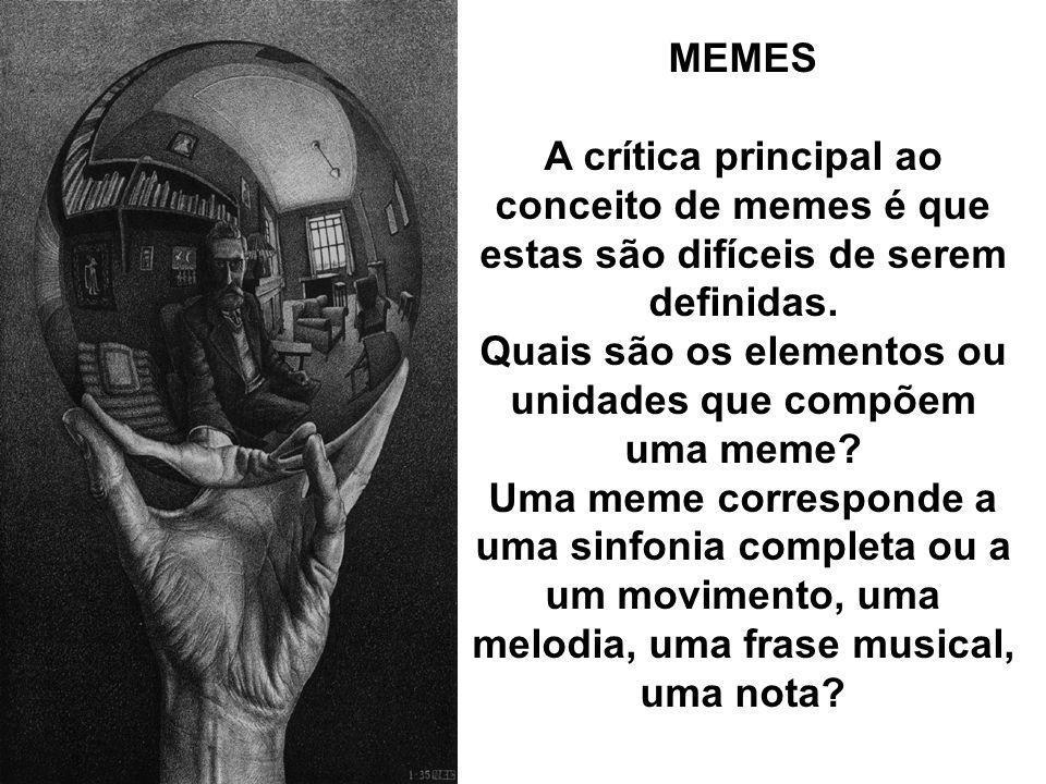 MEMES A crítica principal ao conceito de memes é que estas são difíceis de serem definidas. Quais são os elementos ou unidades que compõem uma meme? U