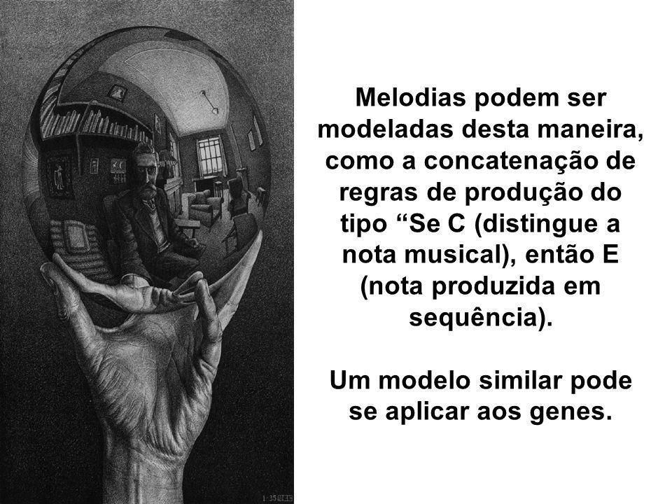 Melodias podem ser modeladas desta maneira, como a concatenação de regras de produção do tipo Se C (distingue a nota musical), então E (nota produzida