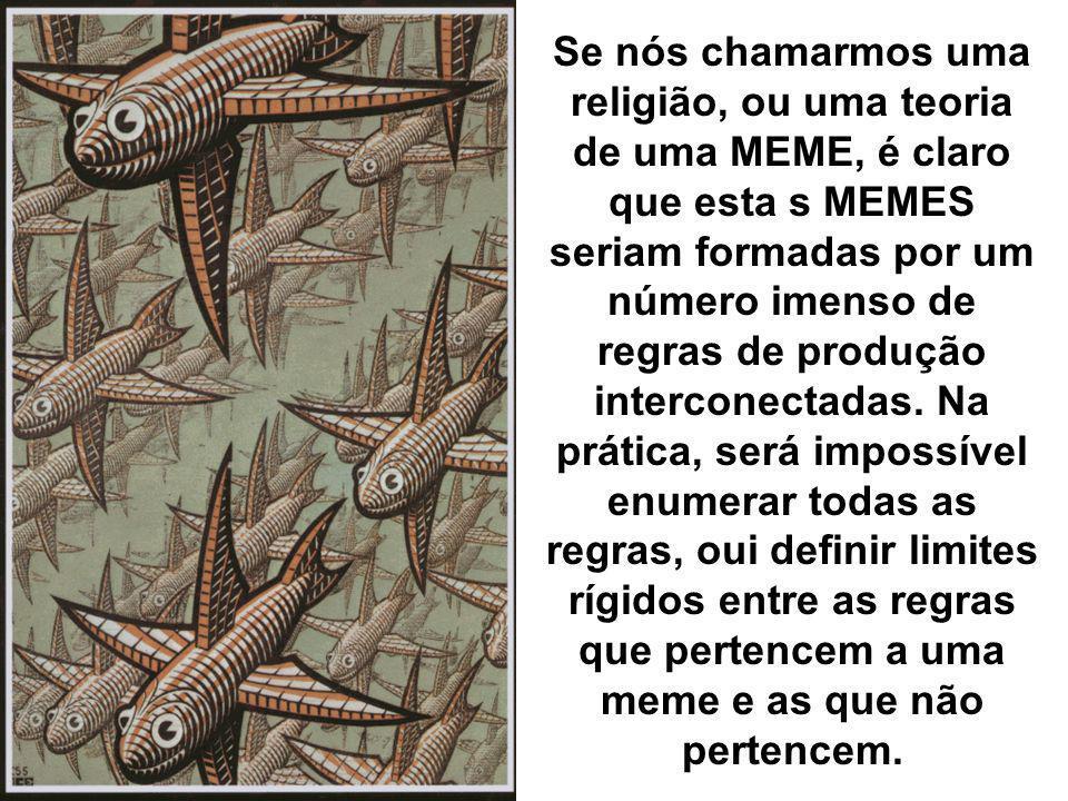 Se nós chamarmos uma religião, ou uma teoria de uma MEME, é claro que esta s MEMES seriam formadas por um número imenso de regras de produção intercon
