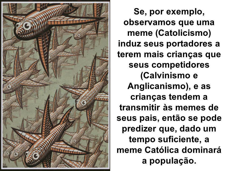 Se, por exemplo, observamos que uma meme (Catolicismo) induz seus portadores a terem mais crianças que seus competidores (Calvinismo e Anglicanismo),