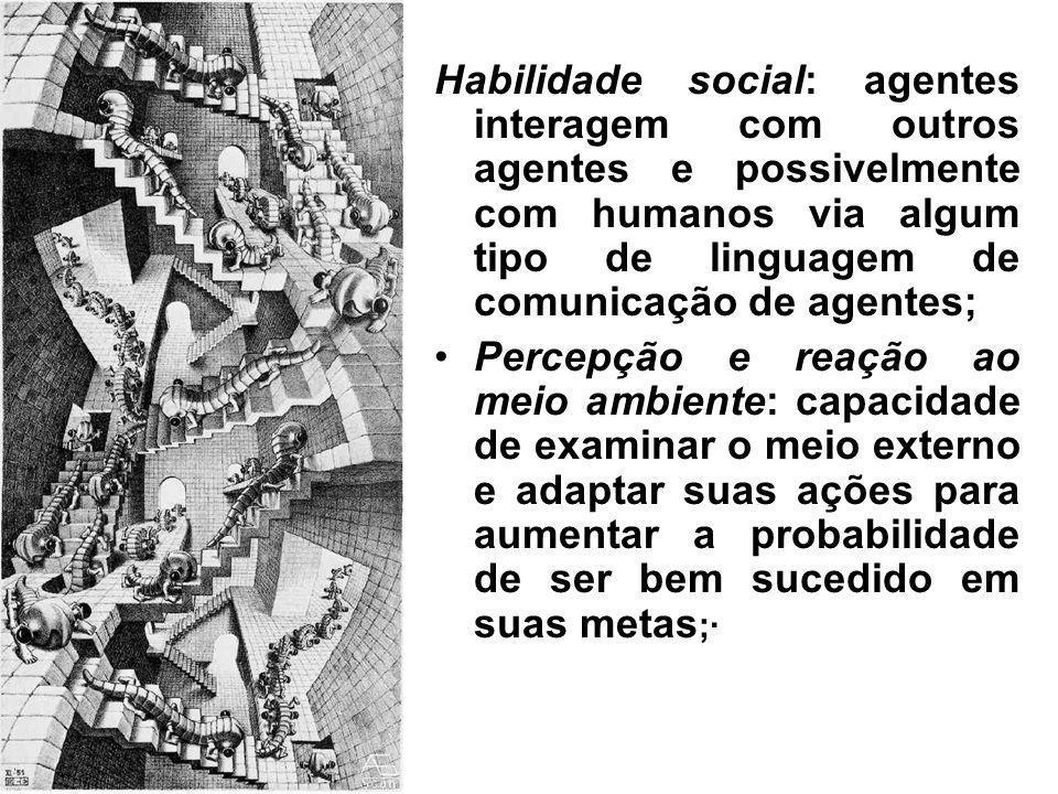 Habilidade social: agentes interagem com outros agentes e possivelmente com humanos via algum tipo de linguagem de comunicação de agentes; Percepção e