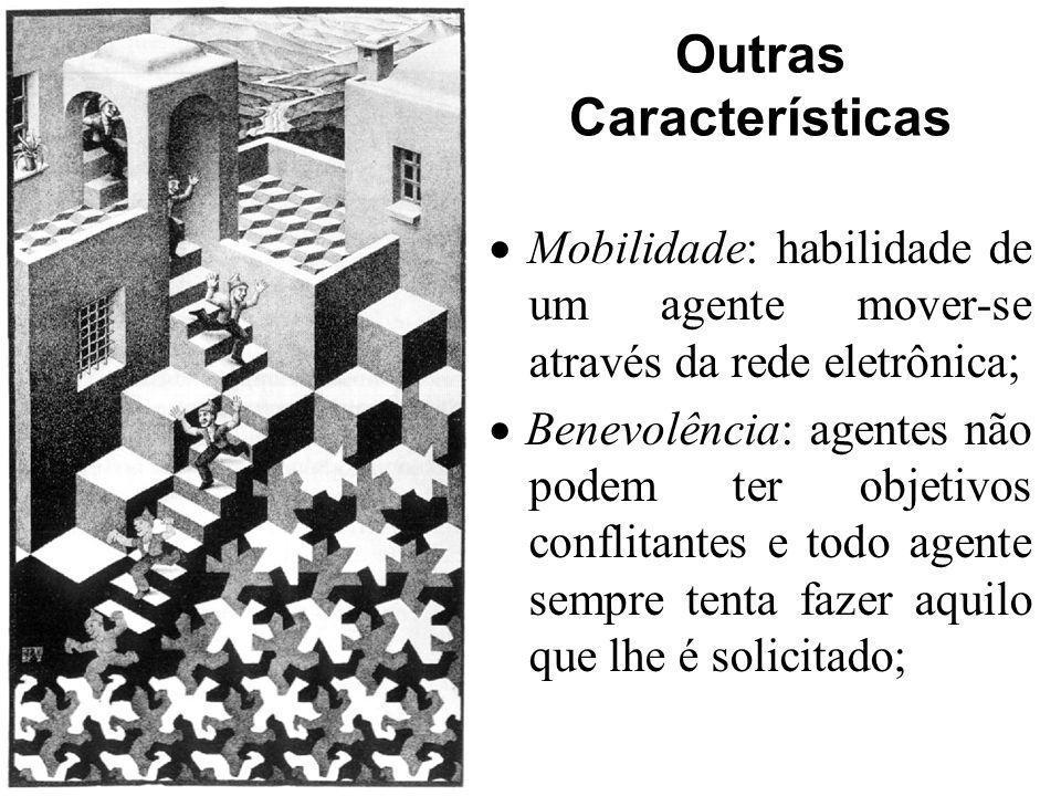 Outras Características Mobilidade: habilidade de um agente mover-se através da rede eletrônica; Benevolência: agentes não podem ter objetivos conflita