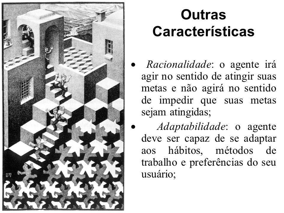Outras Características Racionalidade: o agente irá agir no sentido de atingir suas metas e não agirá no sentido de impedir que suas metas sejam atingi