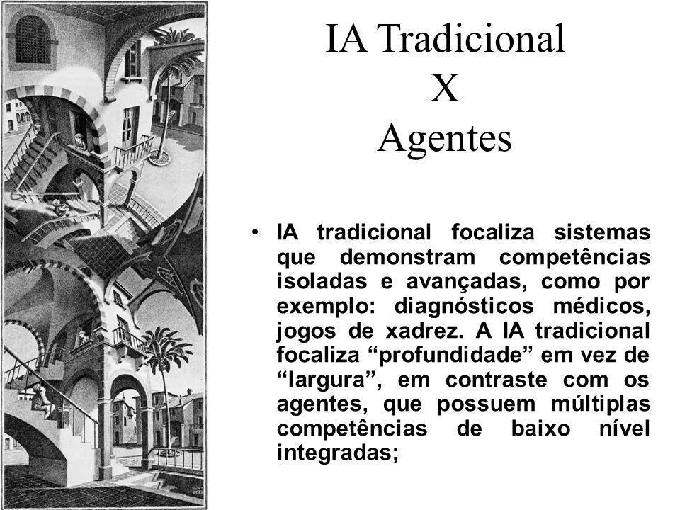 IA Tradicional X Agentes IA tradicional focaliza sistemas que demonstram competências isoladas e avançadas, como por exemplo: diagnósticos médicos, jo