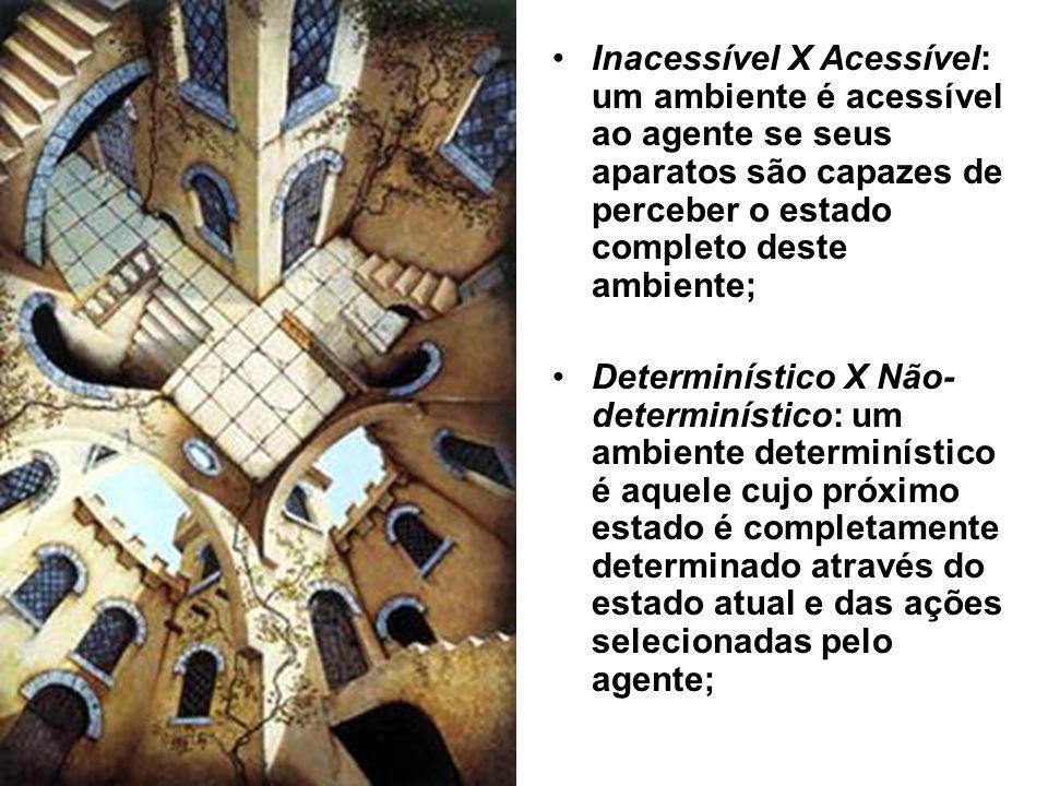 Inacessível X Acessível: um ambiente é acessível ao agente se seus aparatos são capazes de perceber o estado completo deste ambiente; Determinístico X