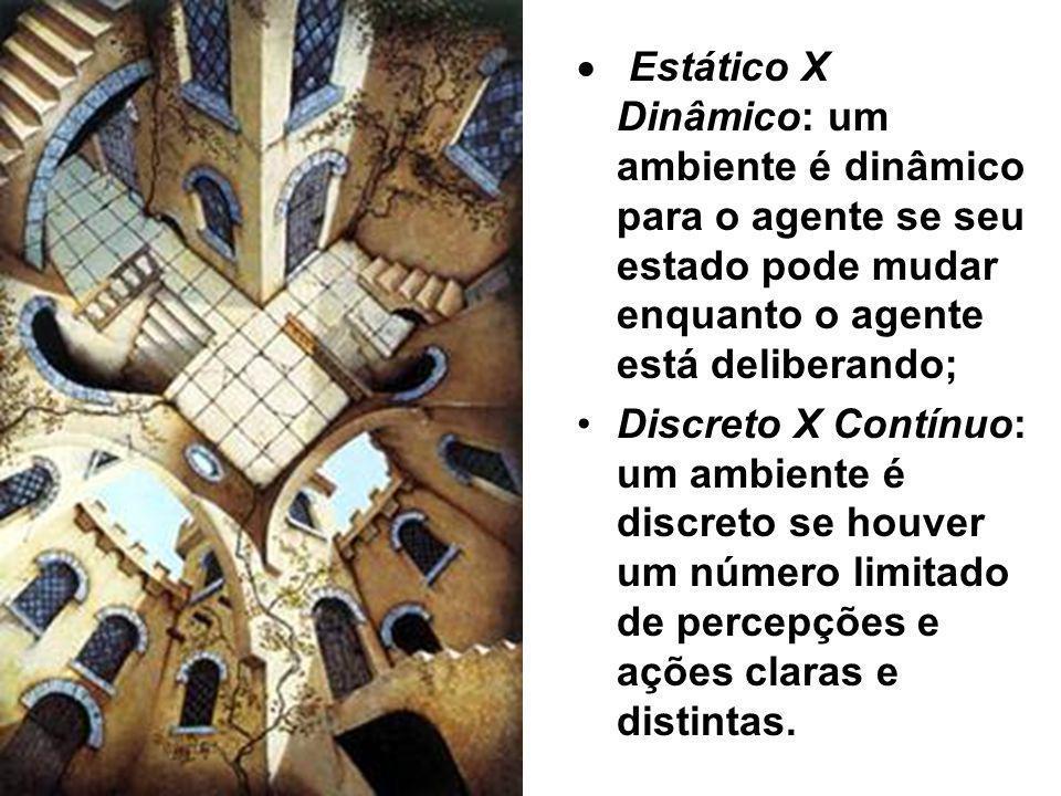 Estático X Dinâmico: um ambiente é dinâmico para o agente se seu estado pode mudar enquanto o agente está deliberando; Discreto X Contínuo: um ambient
