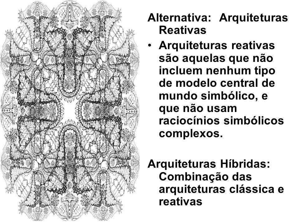 Alternativa: Arquiteturas Reativas Arquiteturas reativas são aquelas que não incluem nenhum tipo de modelo central de mundo simbólico, e que não usam
