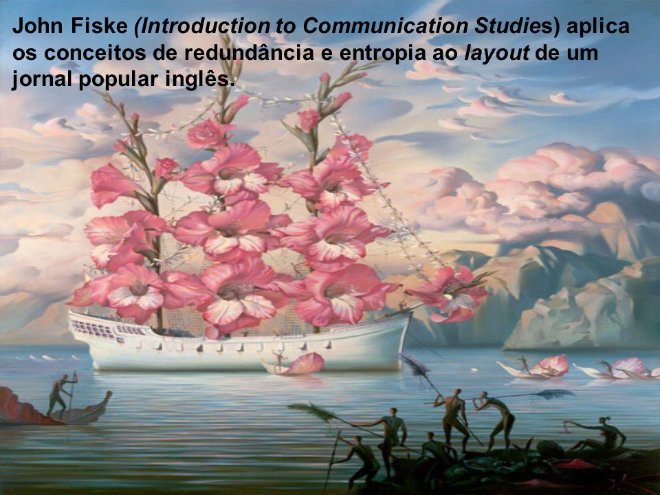 John Fiske (Introduction to Communication Studies) aplica os conceitos de redundância e entropia ao layout de um jornal popular inglês.