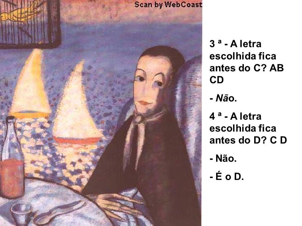 3 ª - A letra escolhida fica antes do C? AB CD - Não. 4 ª - A letra escolhida fica antes do D? C D - Não. - É o D.