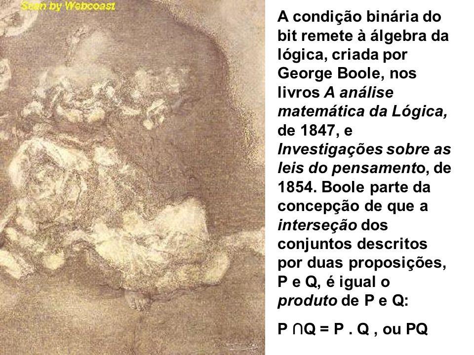 A condição binária do bit remete à álgebra da lógica, criada por George Boole, nos livros A análise matemática da Lógica, de 1847, e Investigações sob