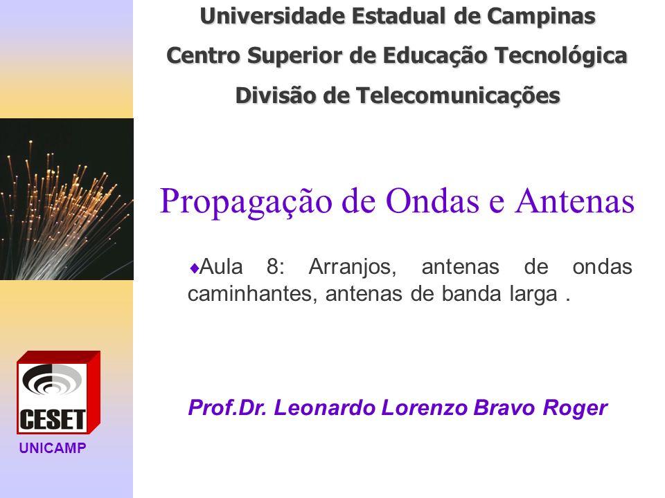 UNICAMP Universidade Estadual de Campinas Centro Superior de Educação Tecnológica Divisão de Telecomunicações Propagação de Ondas e Antenas Prof.Dr. L