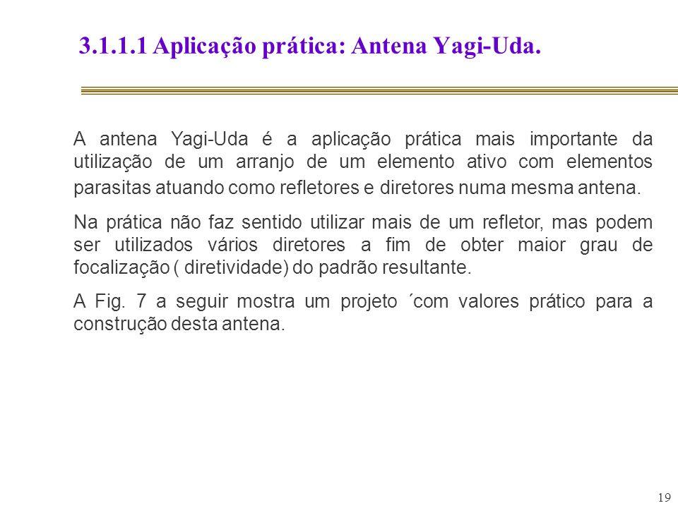 19 3.1.1.1 Aplicação prática: Antena Yagi-Uda. A antena Yagi-Uda é a aplicação prática mais importante da utilização de um arranjo de um elemento ativ