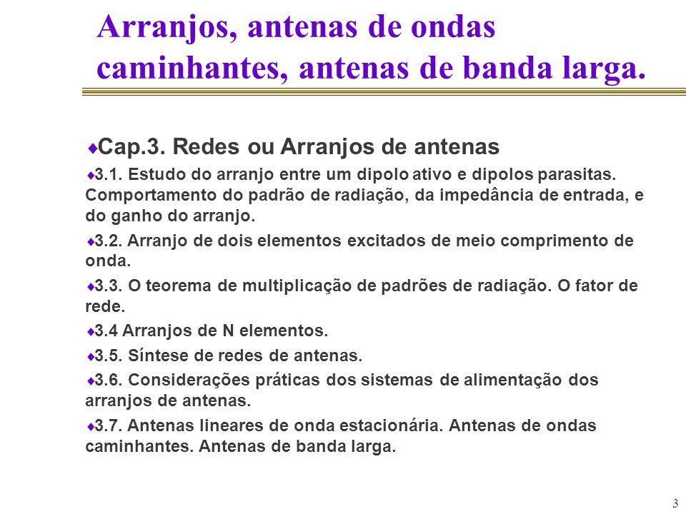 3 Arranjos, antenas de ondas caminhantes, antenas de banda larga. Cap.3. Redes ou Arranjos de antenas 3.1. Estudo do arranjo entre um dipolo ativo e d