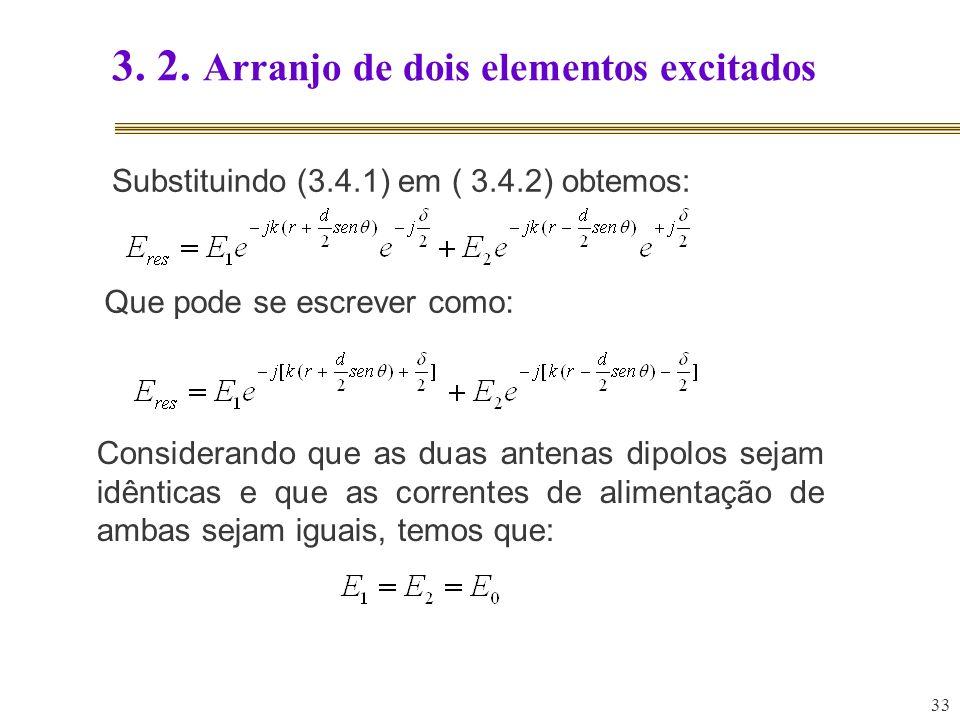 33 3. 2. Arranjo de dois elementos excitados Substituindo (3.4.1) em ( 3.4.2) obtemos: Que pode se escrever como: Considerando que as duas antenas dip