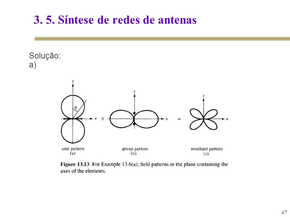 47 3. 5. Síntese de redes de antenas Solução: a)