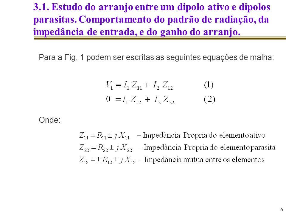 7 3.1.Estudo do arranjo entre um dipolo ativo e dipolos parasitas.