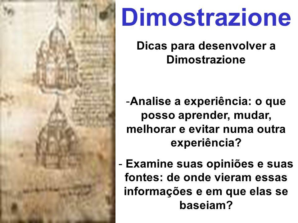 Dimostrazione Dicas para desenvolver a Dimostrazione -Analise a experiência: o que posso aprender, mudar, melhorar e evitar numa outra experiência? -