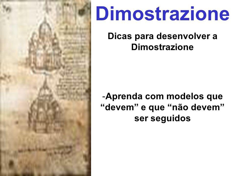 Dimostrazione Dicas para desenvolver a Dimostrazione -Aprenda com modelos que devem e que não devem ser seguidos