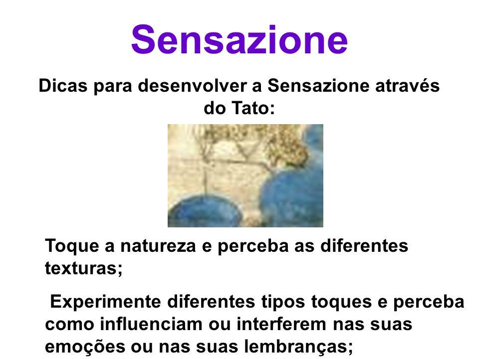 Sensazione Dicas para desenvolver a Sensazione através do Tato: Toque a natureza e perceba as diferentes texturas; Experimente diferentes tipos toques