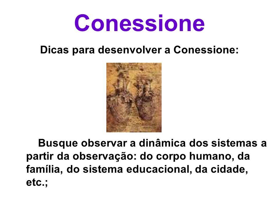 Conessione Dicas para desenvolver a Conessione: Busque observar a dinâmica dos sistemas a partir da observação: do corpo humano, da família, do sistem