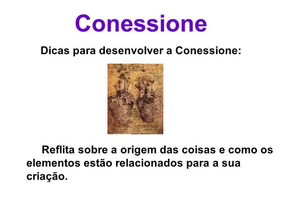 Conessione Dicas para desenvolver a Conessione: Reflita sobre a origem das coisas e como os elementos estão relacionados para a sua criação.