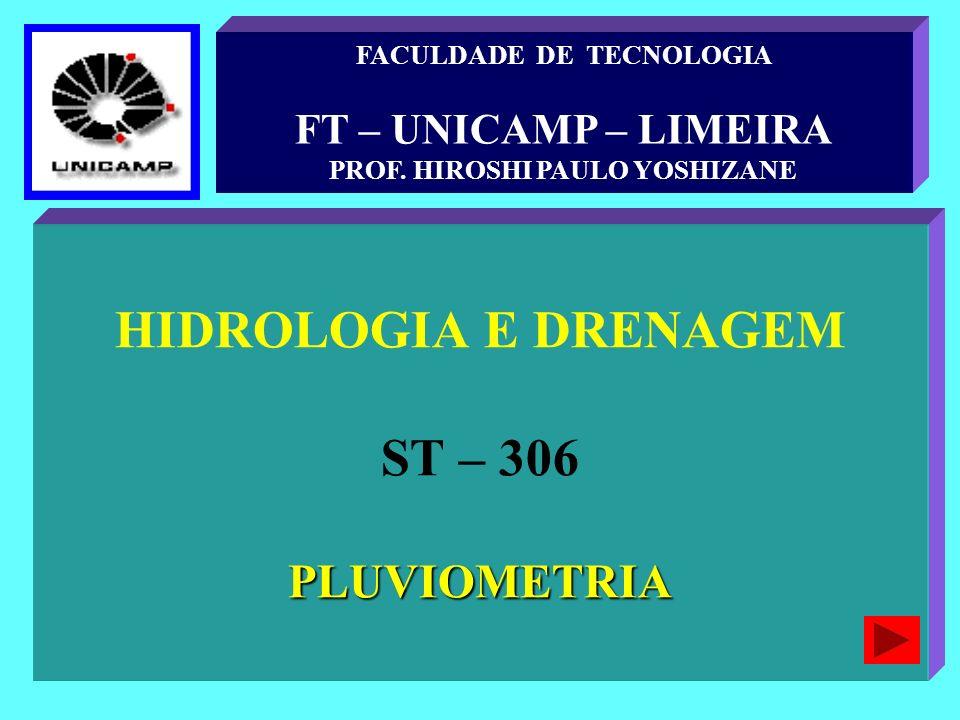 HIDROLOGIA E DRENAGEM ST – 306PLUVIOMETRIA FACULDADE DE TECNOLOGIA FT – UNICAMP – LIMEIRA PROF. HIROSHI PAULO YOSHIZANE