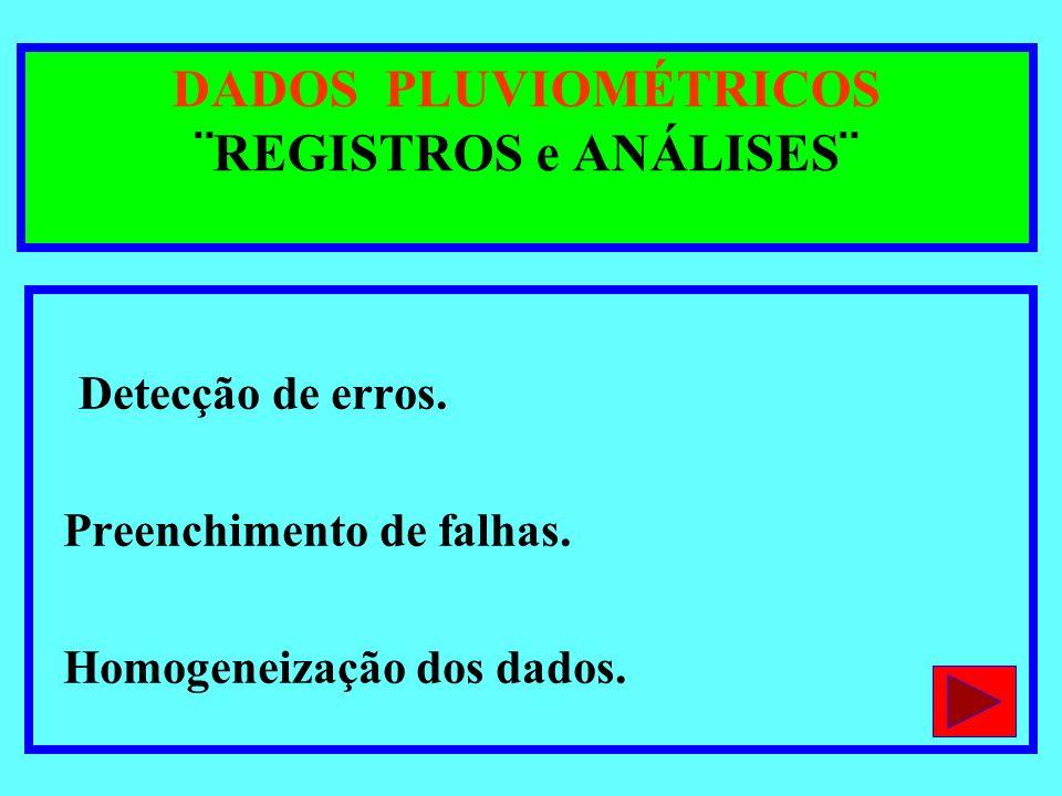 DADOS PLUVIOMÉTRICOS ¨REGISTROS e ANÁLISES¨ Detecção de erros. Preenchimento de falhas. Homogeneização dos dados.