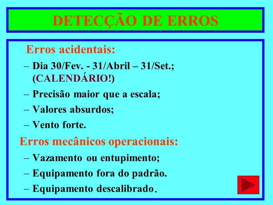DETECÇÃO DE ERROS Erros acidentais: –Dia 30/Fev. - 31/Abril – 31/Set.; (CALENDÁRIO!) –Precisão maior que a escala; –Valores absurdos; –Vento forte. Er