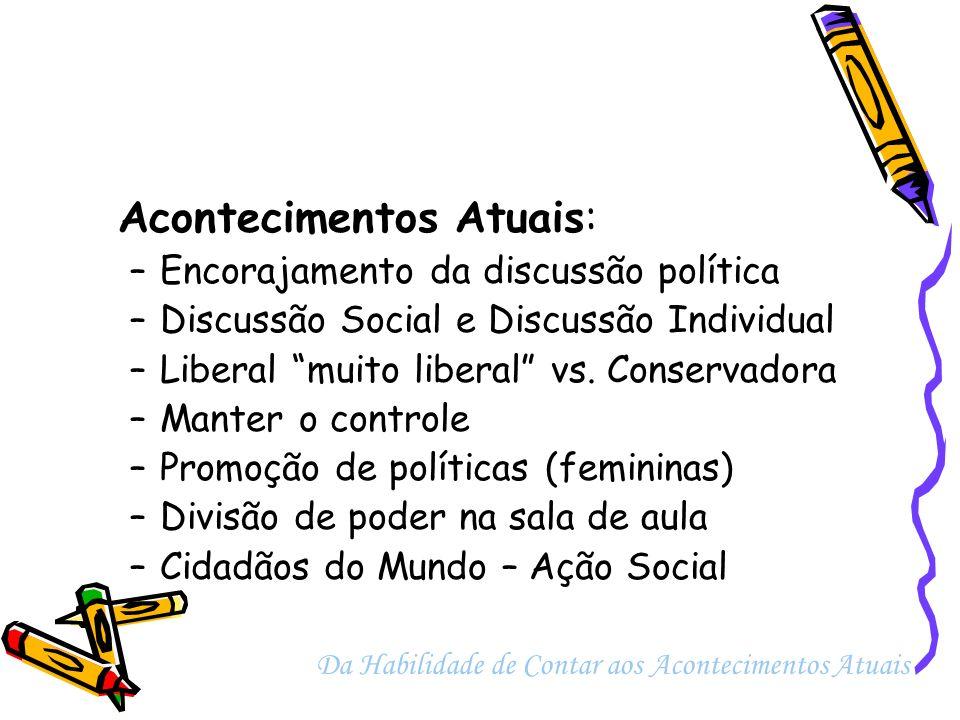 Acontecimentos Atuais: –Encorajamento da discussão política –Discussão Social e Discussão Individual –Liberal muito liberal vs. Conservadora –Manter o