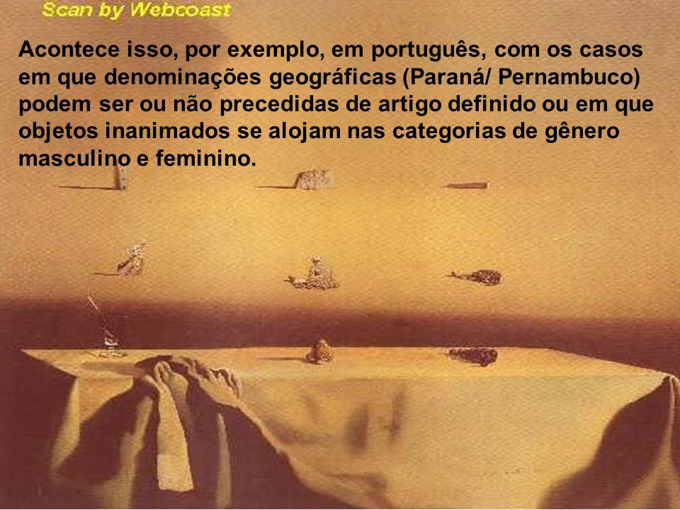 Acontece isso, por exemplo, em português, com os casos em que denominações geográficas (Paraná/ Pernambuco) podem ser ou não precedidas de artigo defi