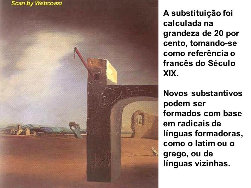 A substituição foi calculada na grandeza de 20 por cento, tomando-se como referência o francês do Século XIX. Novos substantivos podem ser formados co
