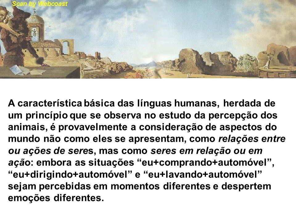 A característica básica das línguas humanas, herdada de um princípio que se observa no estudo da percepção dos animais, é provavelmente a consideração