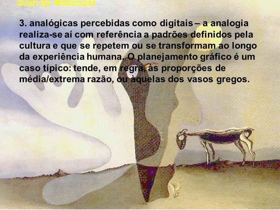 3. analógicas percebidas como digitais – a analogia realiza-se aí com referência a padrões definidos pela cultura e que se repetem ou se transformam a