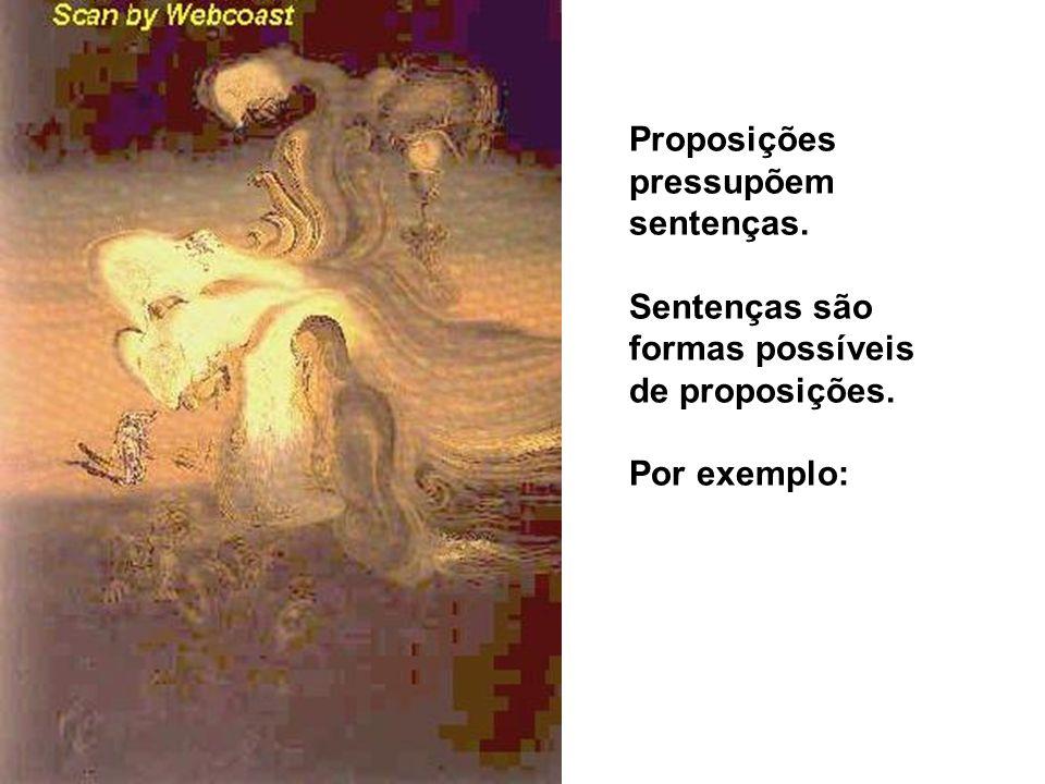 Proposições pressupõem sentenças. Sentenças são formas possíveis de proposições. Por exemplo: