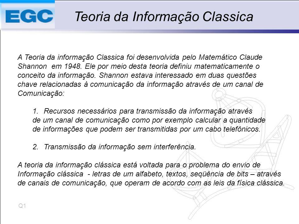 Q1 Teoria da Informação Classica A Teoria da informação Classica foi desenvolvida pelo Matemático Claude Shannon em 1948.