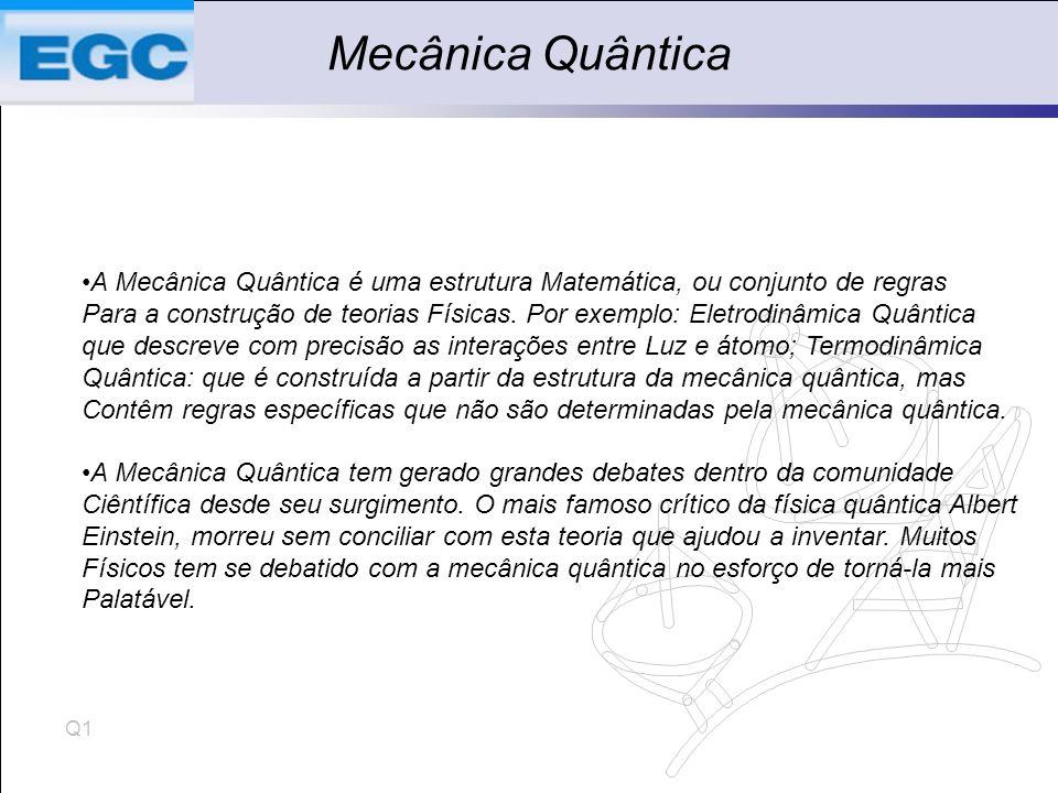 Q1 Mecânica Quântica A Mecânica Quântica é uma estrutura Matemática, ou conjunto de regras Para a construção de teorias Físicas.