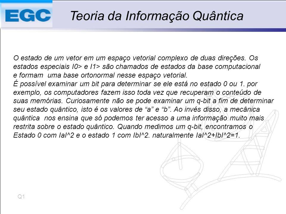 Q1 Teoria da Informação Quântica O estado de um vetor em um espaço vetorial complexo de duas direções.