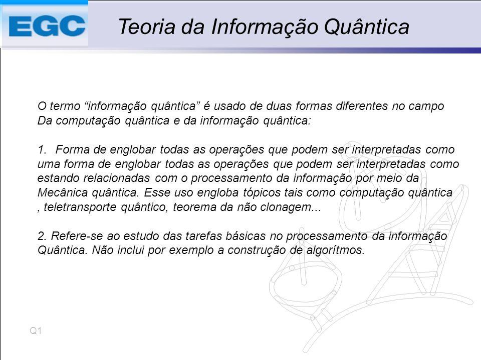 Q1 Teoria da Informação Quântica O termo informação quântica é usado de duas formas diferentes no campo Da computação quântica e da informação quântica: 1.Forma de englobar todas as operações que podem ser interpretadas como uma forma de englobar todas as operações que podem ser interpretadas como estando relacionadas com o processamento da informação por meio da Mecânica quântica.