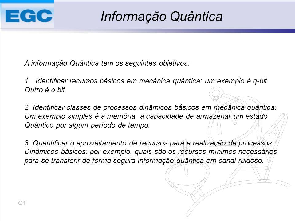 Q1 Informação Quântica A informação Quântica tem os seguintes objetivos: 1.Identificar recursos básicos em mecânica quântica: um exemplo é q-bit Outro é o bit.