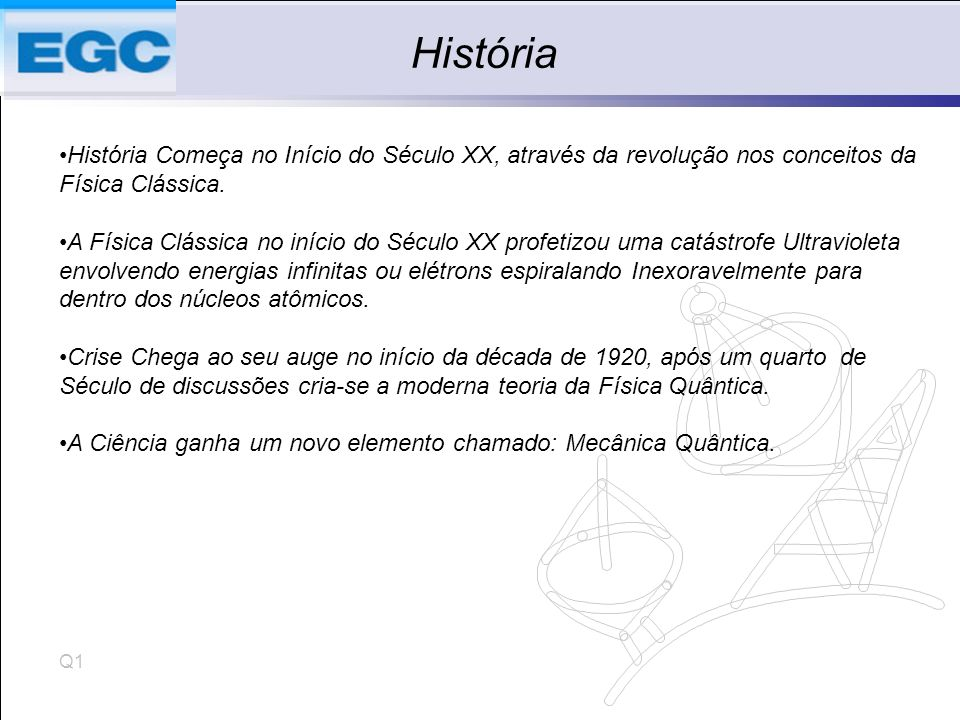 História História Começa no Início do Século XX, através da revolução nos conceitos da Física Clássica.