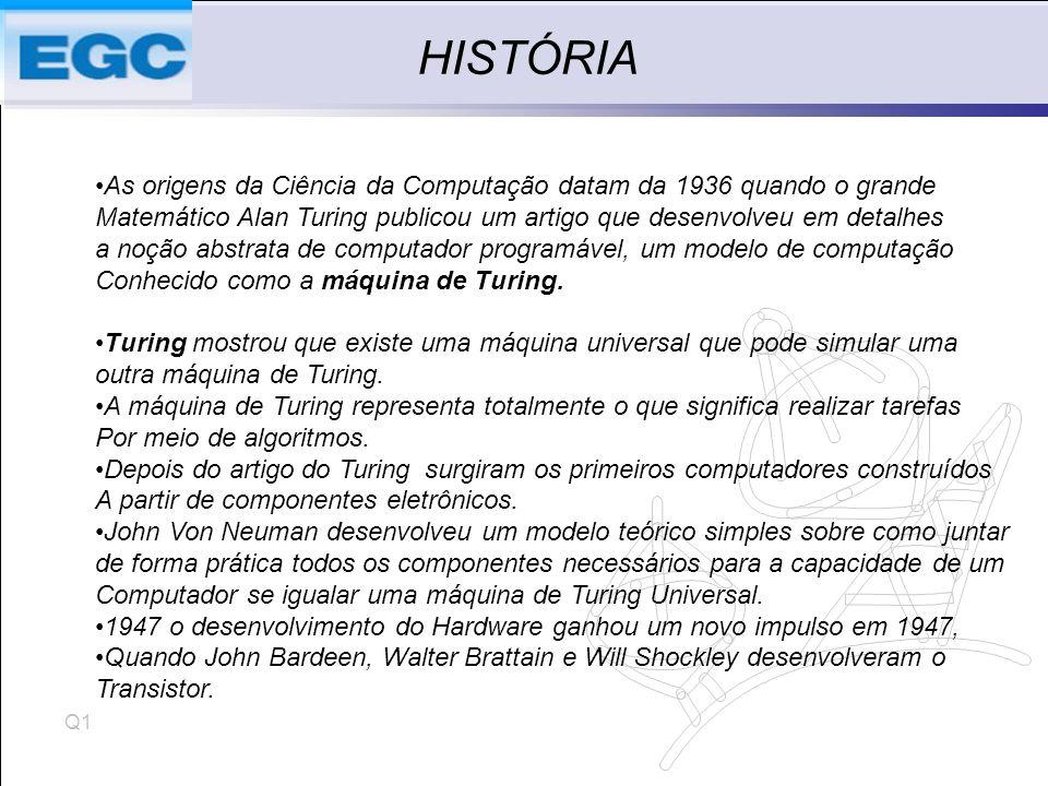 Q1 HISTÓRIA As origens da Ciência da Computação datam da 1936 quando o grande Matemático Alan Turing publicou um artigo que desenvolveu em detalhes a noção abstrata de computador programável, um modelo de computação Conhecido como a máquina de Turing.