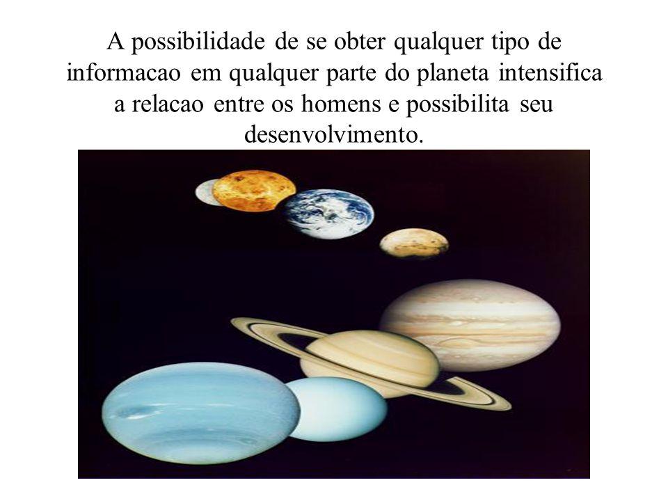 A possibilidade de se obter qualquer tipo de informacao em qualquer parte do planeta intensifica a relacao entre os homens e possibilita seu desenvolv