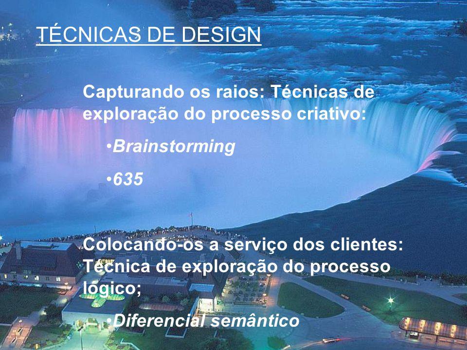 TÉCNICAS DE DESIGN Capturando os raios: Técnicas de exploração do processo criativo: Brainstorming 635 Colocando-os a serviço dos clientes: Técnica de