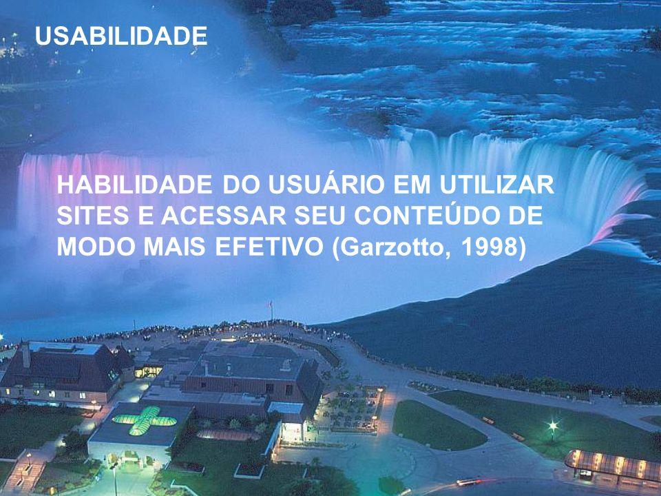 USABILIDADE HABILIDADE DO USUÁRIO EM UTILIZAR SITES E ACESSAR SEU CONTEÚDO DE MODO MAIS EFETIVO (Garzotto, 1998)