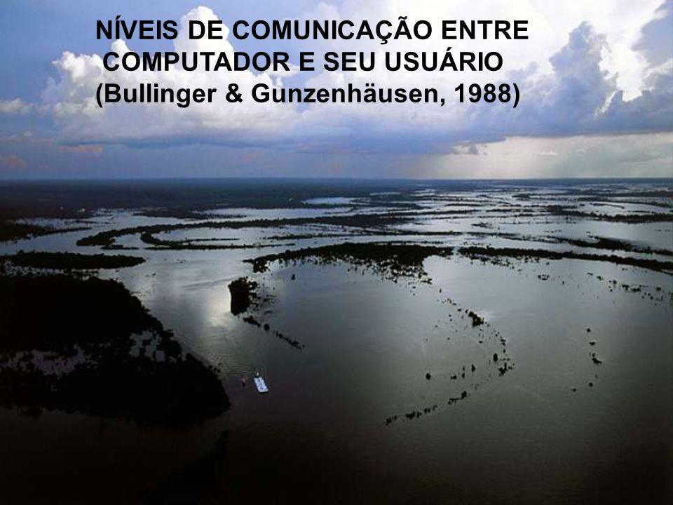 NÍVEIS DE COMUNICAÇÃO ENTRE COMPUTADOR E SEU USUÁRIO (Bullinger & Gunzenhäusen, 1988)