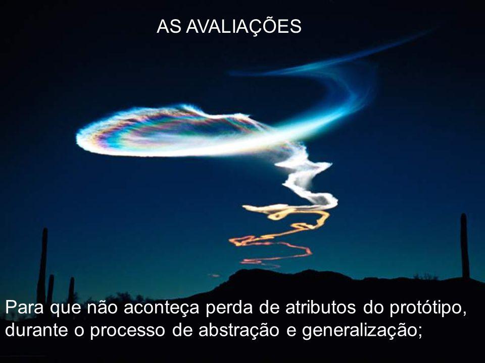 Para que não aconteça perda de atributos do protótipo, durante o processo de abstração e generalização; AS AVALIAÇÕES